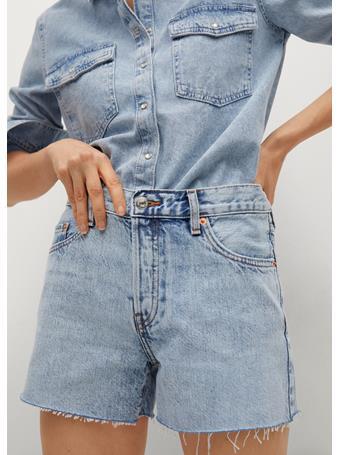MANGO - Frayed Hem Denim Shorts LT-PASTEL BLUE