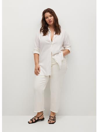 VIOLETA BY MANGO - Flowy Linen Shirt NATURAL WHITE