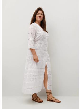 VIOLETA BY MANGO - Embroidered Cotton Dress WHITE