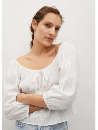 MANGO - Gathered Cotton Blouse WHITE