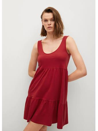 MANGO - Organic Cotton Ruffled Dress DARK RED