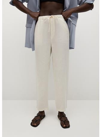 MANGO - 100% Linen Pants OFF WHITE