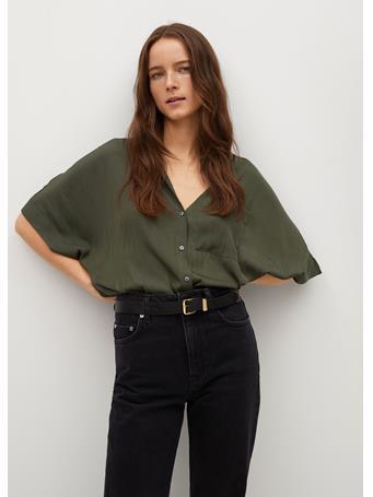 MANGO - Pocket Flowy Shirt GREEN