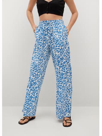 MANGO - Elastic Waist Printed Pants MEDIUM BLUE