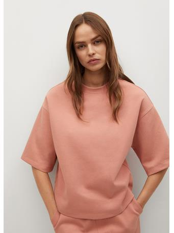 MANGO - Short Sleeve Cotton Sweatshirt LT-PASTEL PINK
