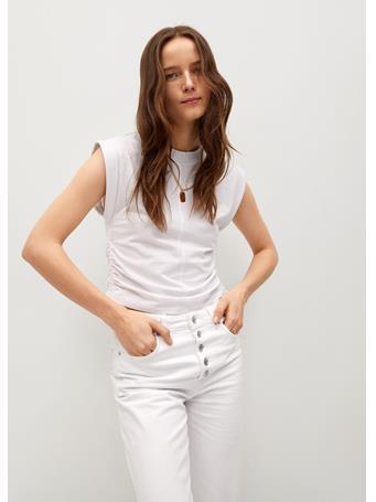 MANGO - Ruched Organic Cotton T-shirt WHITE