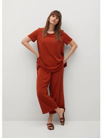 VIOLETA BY MANGO - Wrinkled Effect Pants RED
