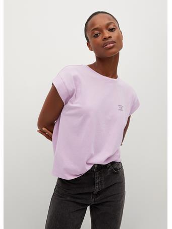 MANGO - Essential Cotton-blend T-shirt DARK PURPLE