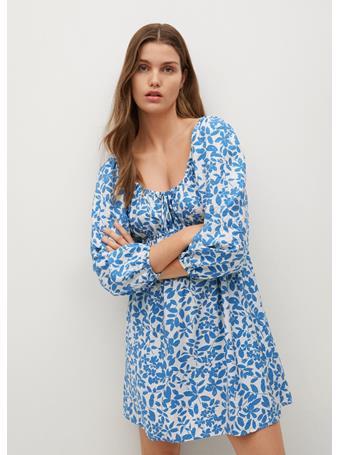 MANGO - Floral Print Dress MEDIUM BLUE
