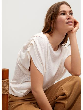 MANGO - Pleated Shoulder T-shirt NATURAL WHITE