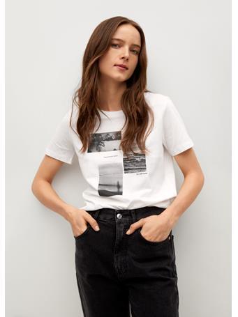 MANGO - Organic Printed Cotton T-shirt NATURAL WHITE