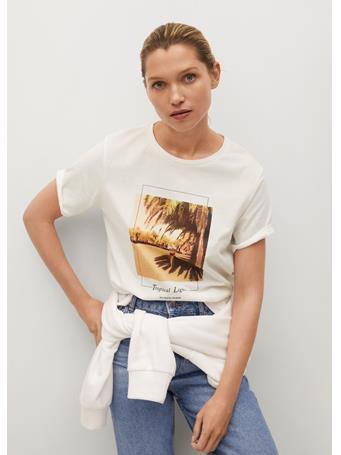 MANGO - Boats Printed Cotton T-shirt NATURAL WHITE