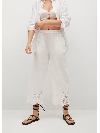 MANGO - Broderie Anglaise Cotton Pants WHITE