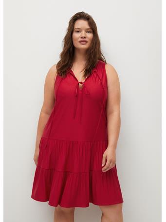 VIOLETA BY MANGO - Bows Neckline Dress DARK RED