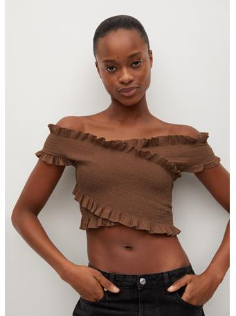 MANGO - Cotton Wrapped Top DARK BROWN