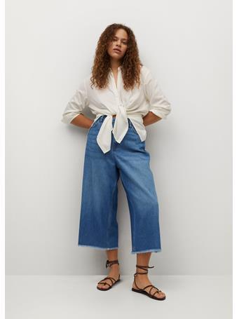 VIOLETA BY MANGO - Culotte Frayed Jeans MEDIUM BLUE