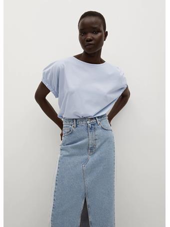 MANGO - Oversize Cotton T-shirt MEDIUM BLUE