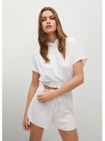 MANGO - Elastic Cropped Sweatshirt WHITE