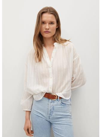 MANGO - Oversize Cotton Blouse NATURAL WHITE