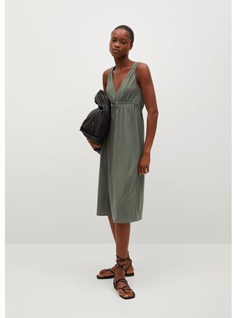 MANGO - Elastic Waist Dress KHAKI