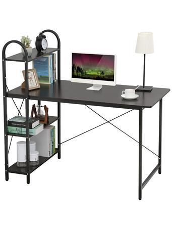 HOME BASICS - Computer Desk with Shevles BLACK