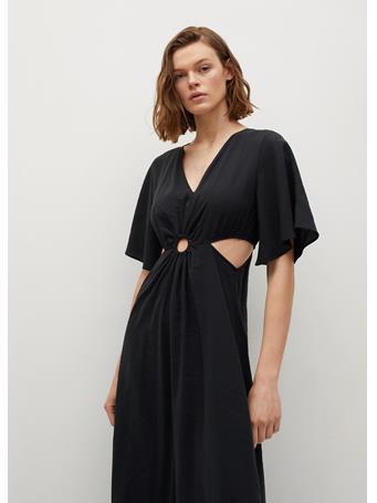 MANGO - Side Slit Dress BLACK