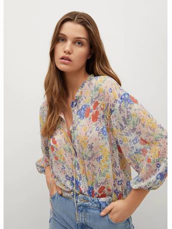 MANGO - Floral Print Blouse NATURAL WHITE