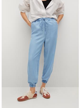 MANGO - 100% Lyocell Pants MEDIUM BLUE