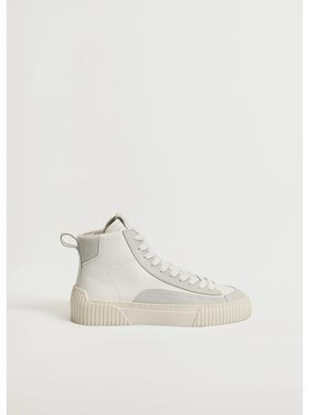 MANGO - Lace-up Leather Sneakers WHITE