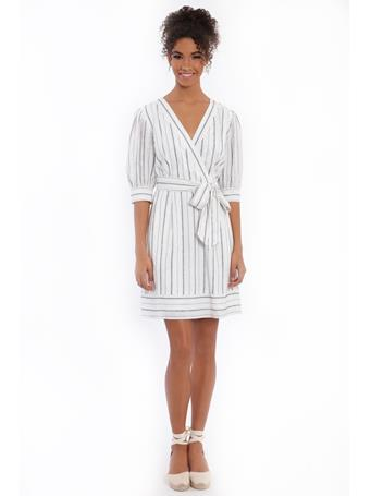 MAGGY LONDON - London Times Daye Belted Wrap IVORY/BLACK