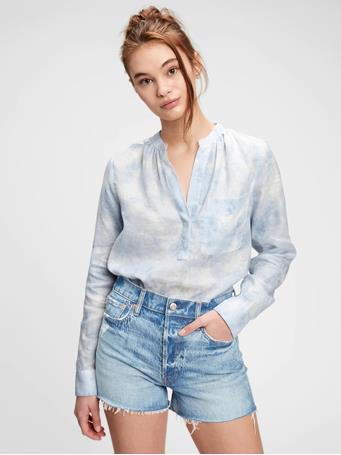GAP - Tie-Dye Linen Popover Shirt BLUE TIE DYE