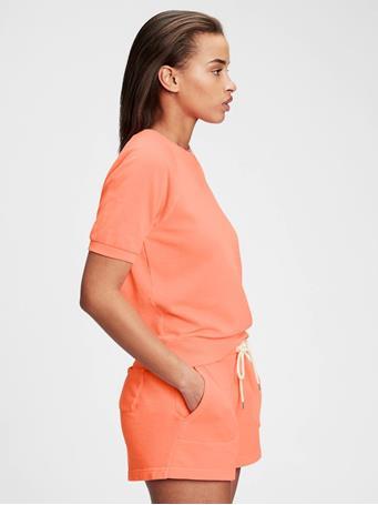 GAP - Vintage Soft Raglan Short Sleeve Crewneck Sweatshirt NEON CORAL VOLT