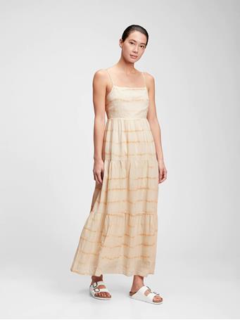 GAP - Squareneck Tiered Maxi Dress NEUTRAL TIE DYE
