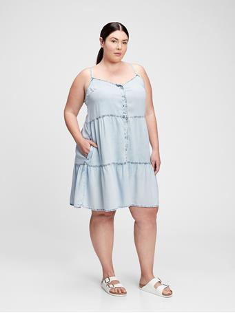 GAP - Button-Front Tiered Dress LIGHT WASH