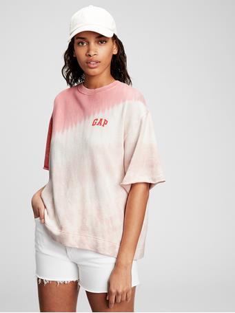 GAP - Gap Logo Short Sleeve Sweatshirt PINK TIE DYE