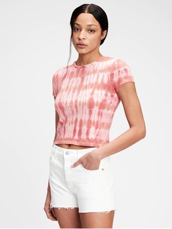 GAP - Graphic Shrunken T-Shirt PINK STRIPE TIE DYE