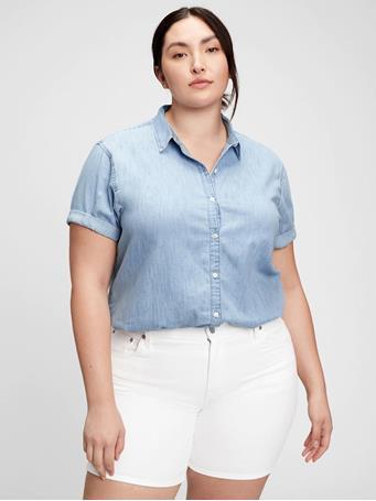 GAP - Roll Cuff Denim Shirt LIGHT INDIGO 6