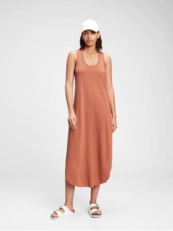 GAP - Scoopneck Sleeveless Midi Dress CEDAR WOOD 17-1525 TCX