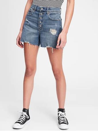 "GAP - 3.5"" High Rise Button-Fly Destructed Denim Shorts With Washwell™ 00 MEDIUM WASH"