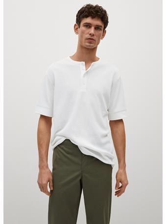 MANGO - Structured Henley Collar T-shirt WHITE