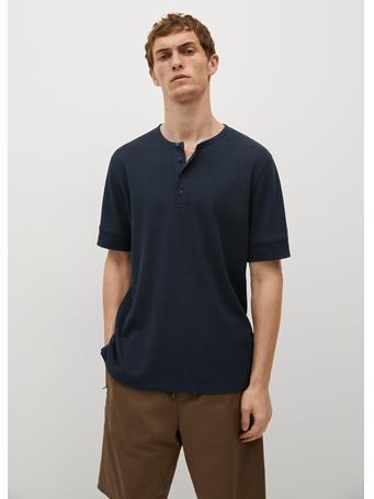 MANGO - Structured Henley Collar T-shirt DK BLUE