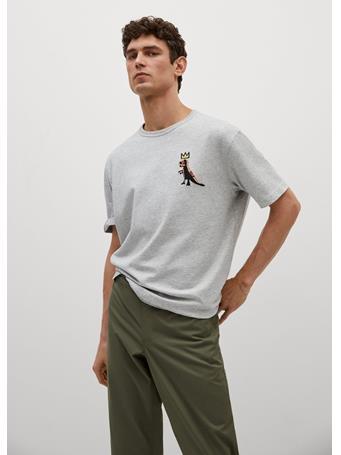 MANGO - Basquiat-print T-shirt GREY