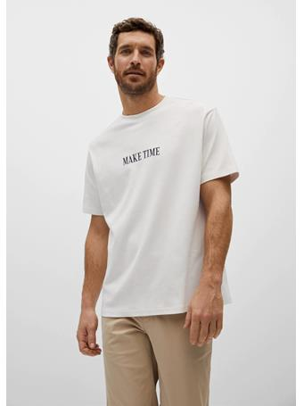 MANGO - Relaxed-fit Message T-shirt OFF WHITE