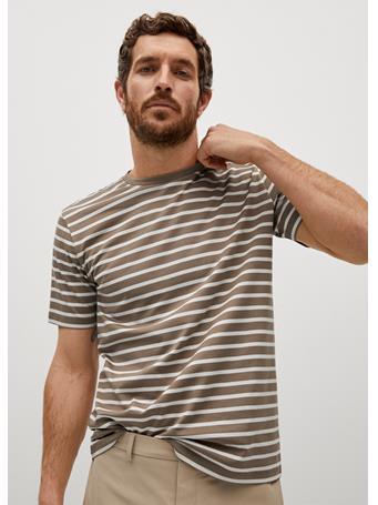 MANGO - Sustainable Cotton Striped T-shirt BEIGE