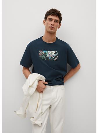 MANGO - Basquiat-print T-shirt BLUE