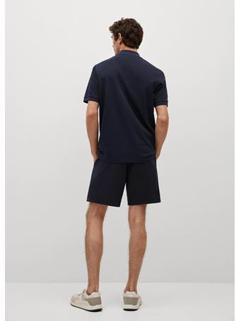 MANGO - Technical Cotton Pique Polo Shirt DK BLUE