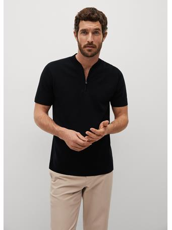 MANGO - Knitted Polo Shirt With Bomber Jacket Collar BLACK