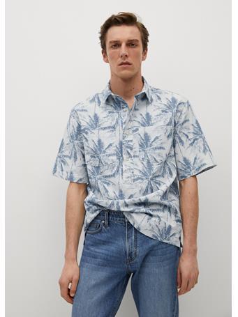 MANGO - Regular-fit Palm Tree Printed Shirt NUDE