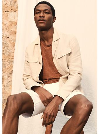 MANGO - Regular Fit 100% Linen T-shirt TERRACOTTA