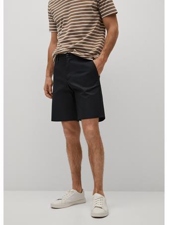 MANGO - Cotton Chino Style Bermuda Shorts BLACK
